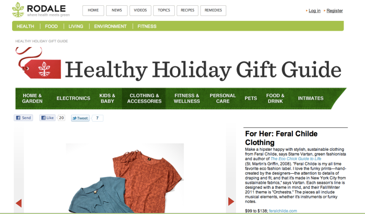 Rodale's Healthy Holiday Gift Guide Features Feral Childe
